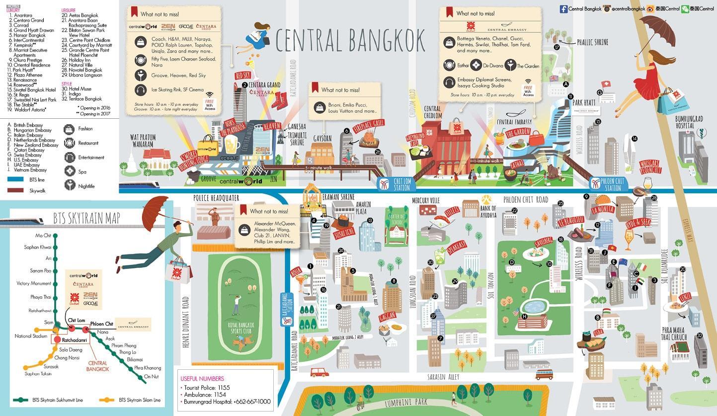 Bangkok-shopping-anzeigen - Bangkok-shopping-mall map (Thailand)